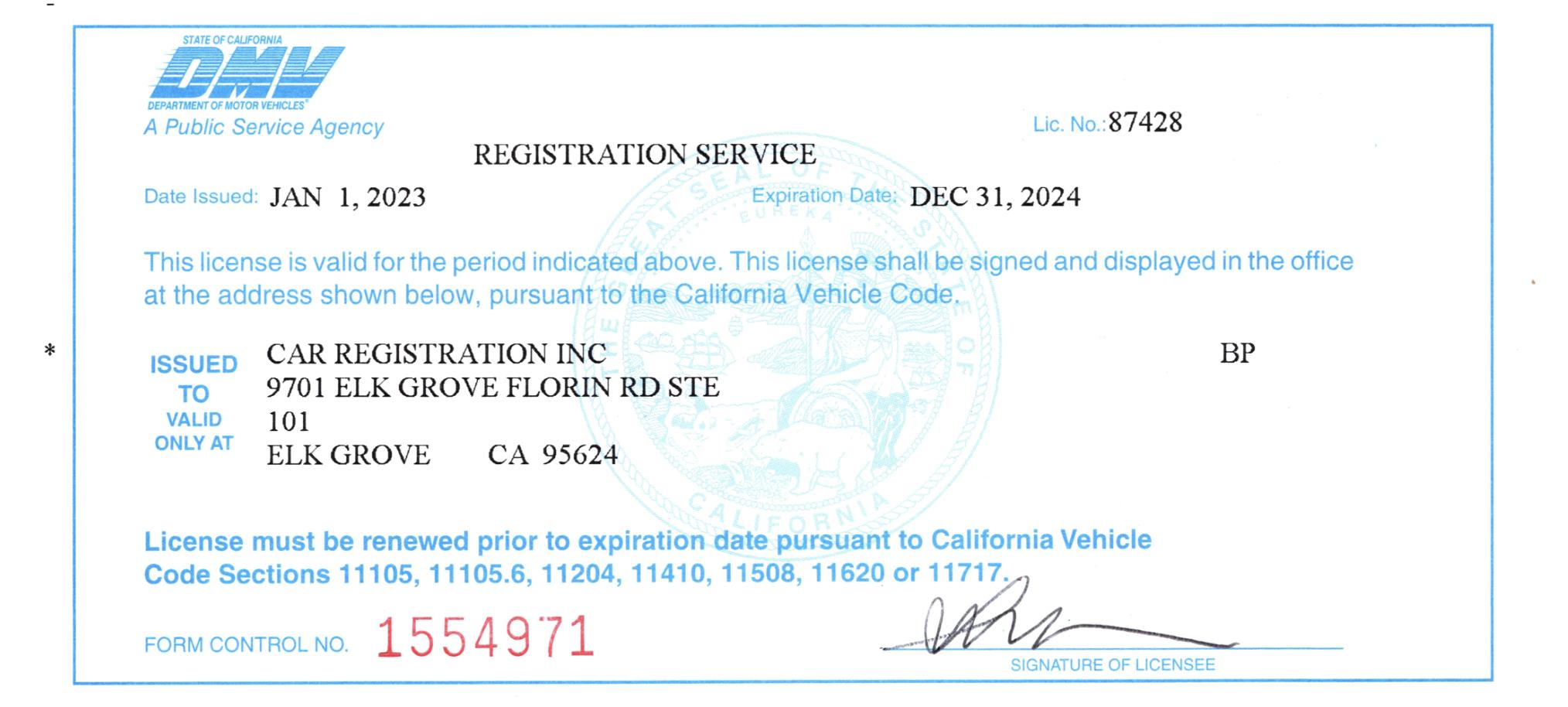 Vehicle Registration Ca >> Our License Car Registration